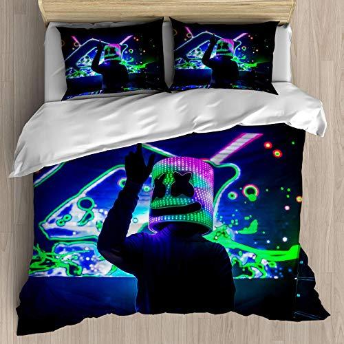 GeGe DJ Marshmallow Decor Duvet Cover Set DJ and Gorgeous Stage Live Print,Decorative 3 Piece Bedding Set with 2 Pillow Shams