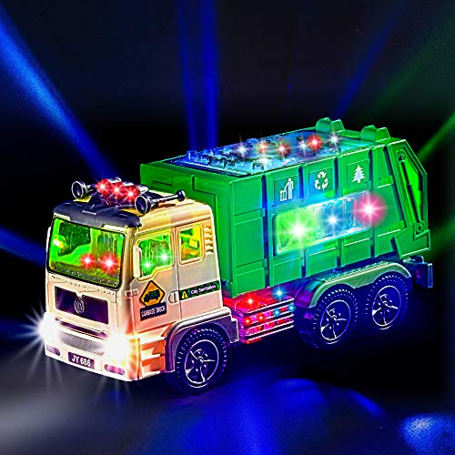 Zetz Brands Toy Garbage Truck for Kids with 4D Lights and Sounds - Battery Operated Automatic Bump & Go Car - Sanitation Truck Stickers