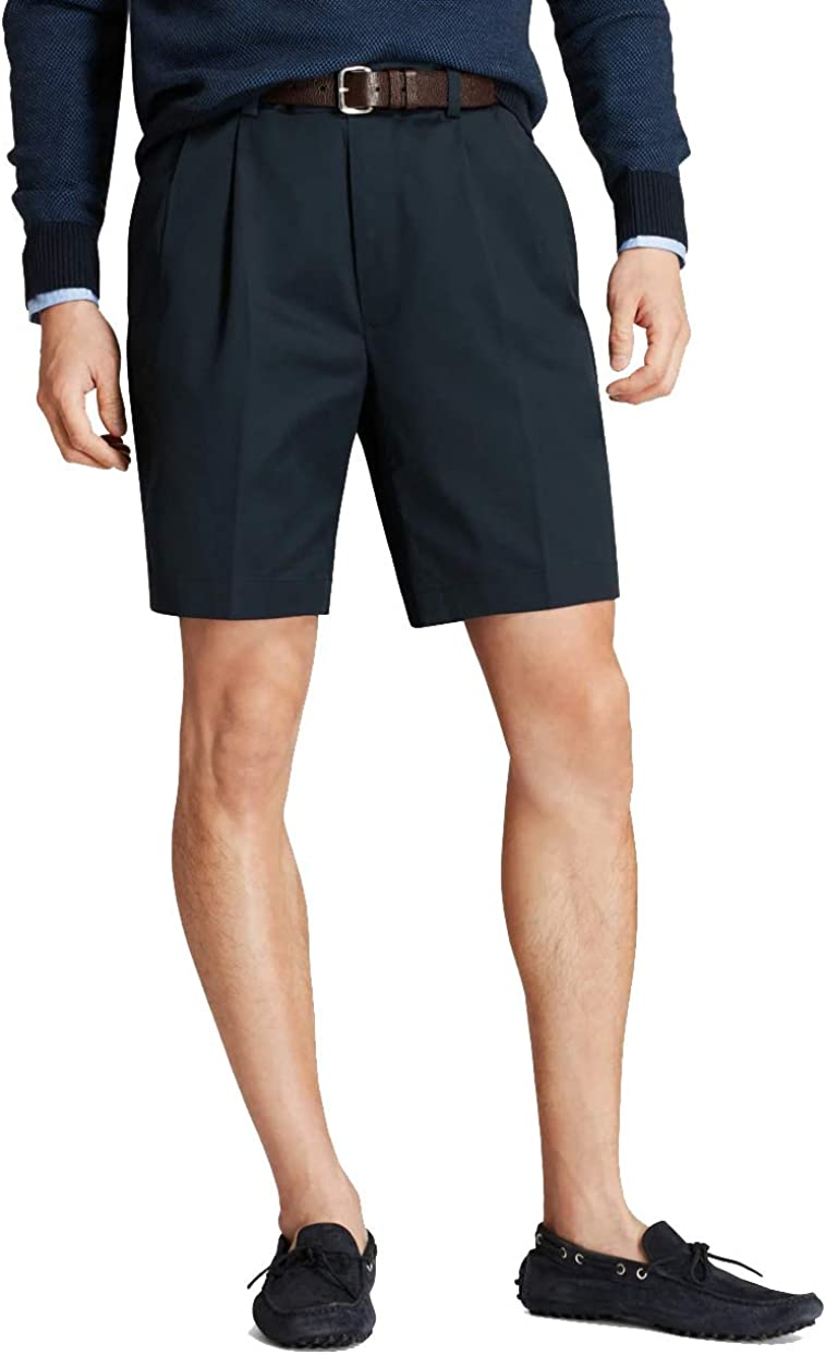 Brooks Brothers Men's 30280 Pleated Front Light Weight Chino Shorts, Navy (32)