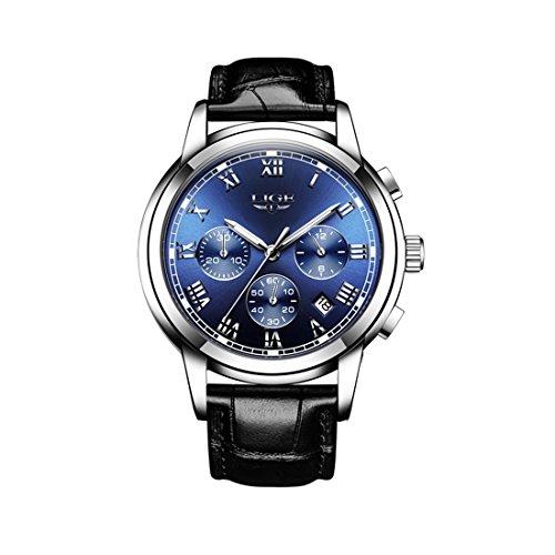LIGE 9810 Men's Watches Leisure Fashion Business Waterproof Strap Watches Multi-Function Luminous...