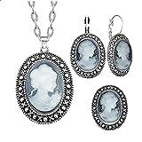 CLEARNICE Oval Lady Queen Cameo Conjunto de Joyas Collar Pendiente Anillo Antiguo Plateado joyería Vintage para Mujer Collar Longitud 48 Cm