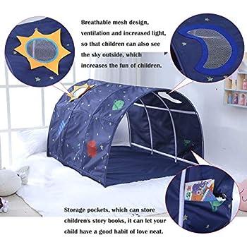 Cozyhoma Tente de lit pour enfant avec tunnel de 90 à 100 cm de largeur, bleu, 100x140x80cm