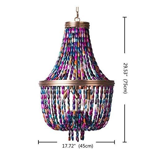 G0000D Chandelier Agate Beads Chandeliers Colorful Lighting Boho Decorative Living Room Chandelier Kitchen Loft Hanging Lights For Nursery Bedroom Top Quality & Free Shipping==> [Dia45 H75Cm E14X6]