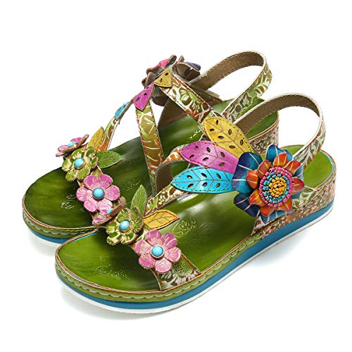 gracosy Leather Sandals for Women, Summer Flat Sandals Colorful Flower Splicing Dress Shoes Slippers Handmade Slip on Green 8 M US
