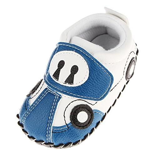 Cloudkids Scarpe Bimbo Unisex in PU Pelle Fumetto Macchina Antiscivolo Scarpe Primi Passi Bambina Azzurro e Bianco Size 1