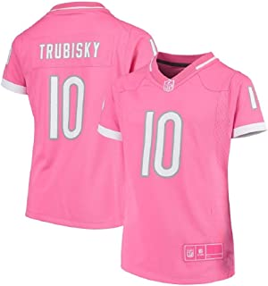 Outerstuff Mitchell Trubisky Chicago Bears NFL Youth Girls 8-20 Bubble Gum Pink On-Field Jersey