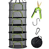 PROTITOUS 6 Tier Black Mesh Zippered Herb Drying Rack Hanging Dryer Dry Net with Pruning Shear for Hydroponics, Bonus Hook & Carabiner