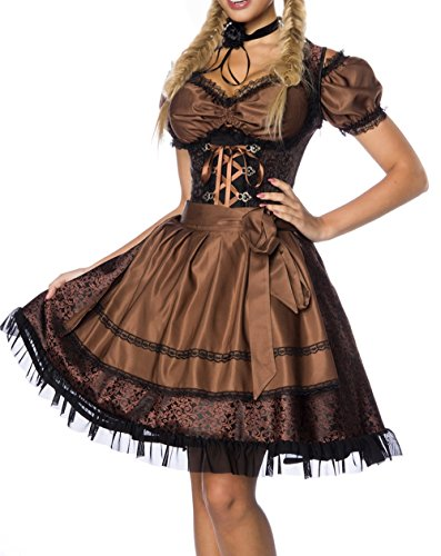 Onbekend Dirndl jurk kostuum met blouse en schort van jacquard stof en kant stof Oktoberfest Dirndl bruin/zwart bovenstuk donker