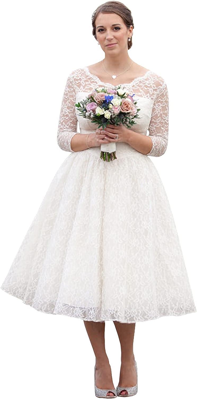 Long Sleeve Tea Length Lace Wedding Dresses for Bride Scoop Neck A-line Corset Back Bridal Gown
