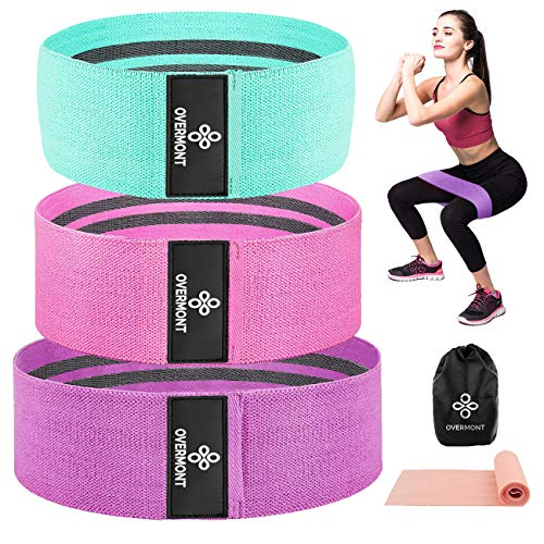 Overmont Resistance Bands for Legs and Butt, Non Slip Booty Bands Thick Wide Gym Bootie Band Fabric Workout Exercise Loops with Stretch Warm-up Elastic Band for Squat Glute Hip Training 3 Levels