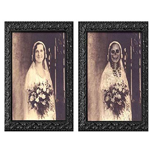 Alittle Marco de Fotos de Terror, Retratos espeluznantes, Cuadro Colgante, Marco de Fotos Decorativo de Pared con Cara cambiante en 3D, Accesorios para Manualidades Fantasma, para la decoración d