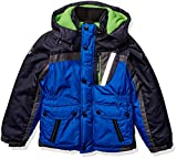 LONDON FOG Boys' Toddler Warm Winter Coat Parka with Cozy Trimmed Hood, Blue Colorblock, 2T