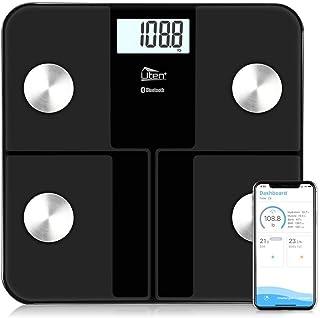 LQH Báscula de baño Báscula, Smart Scale balanza Digital electrónica de LED Inteligente Bluetooth Peso Corporal Digital, 180Kg / 400 Libras Negro