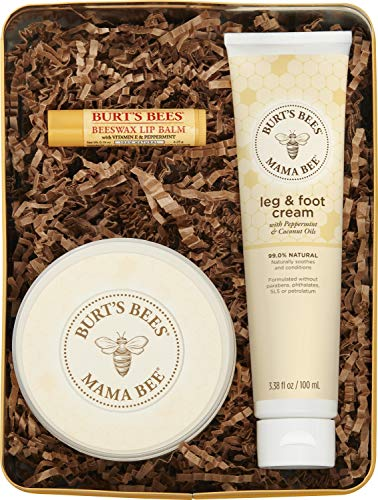 Burts Bees Mama Bee Gift Set with Tin, 3 Pregnancy Skin Care Products - Leg & Foot Cream, Belly Butter and Original Beeswax Lip Balm
