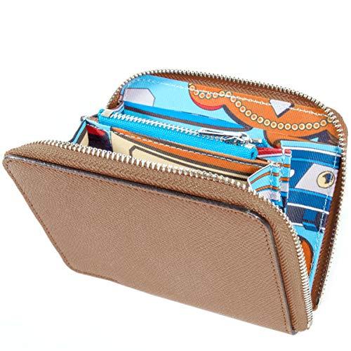 [MALTA] ミニ財布 レディース ラウンドファスナー インナー スカーフ 薄型 牛革 カラフル スカーフ 小さい財布 コンパクト 薄い 軽い 財布 小銭入れ カード入れ 大容量 ブラウン