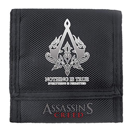 Assassin'S Creed Impresión de la Moda de los Hombres de la Vendimia Billetera de Cuero Genuino con Cremallera Bolsa de la Moneda Unisex (Color : Black02, Size : 11.5 X 11cm)