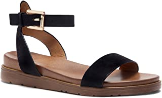 Needed Me Women's Fashion Ankle Strap Buckle Low Wedge Platform Heel Comfortable Sandals Shoes