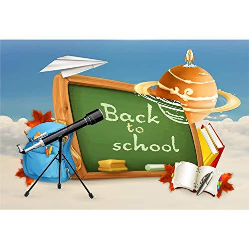 MMPTn Fotohintergrund für Schule, 2,1 x 1,52 m, für Online-Kurse, Dekoration, Cartoon-Teleskop, Schultasche, Astronomie, Zuhause, Studenten, Kinder, Portrait, Fotostudio, Requisiten