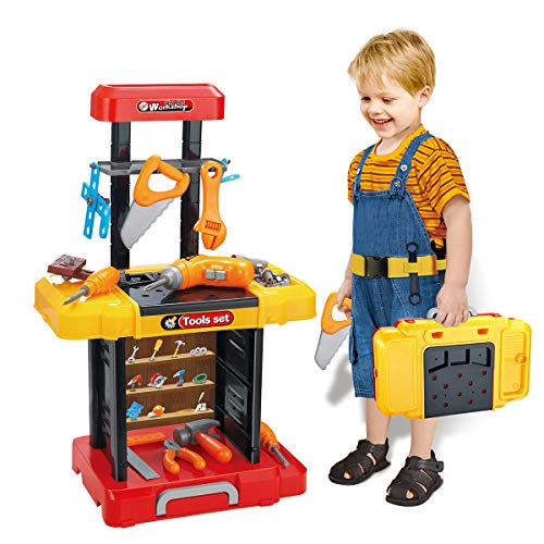 UNIH Kids Tool Bench with Electric Drill Toddler Workbench Tools Set for Kids Pretend Play Learning Toy Tool Set, Indoor & Outdoor Toys for 2 Year Old Boys Gift