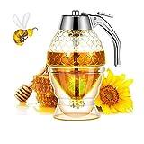 Dispensador de miel, dispensador de jarabe, hermoso tarro de miel de panal, tarro de miel con soporte