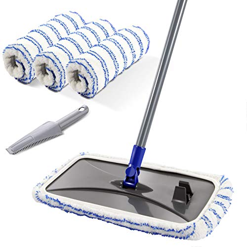 "MASTERTOP Large Microfiber Mop - Microfiber Mop Floor Cleaning System, 16x8.4"" Flat Mop, Dust Mop, Hardwood Floor Mop, Washable, 360 Degree, 3 Microfiber Mop Replacement Pad, 1 Cleaning Scraper"