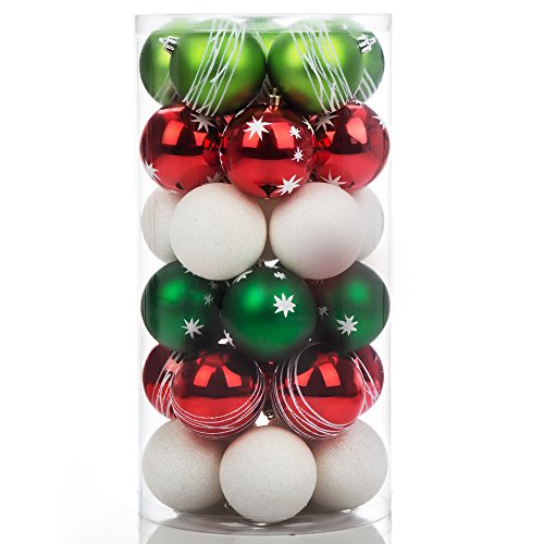 iPEGTOP Shatterproof Christmas Tree Decorations Ball Ornaments, Traditional Crafting Holiday Wedding Party Baubles Red Green White, 60mm/2.4