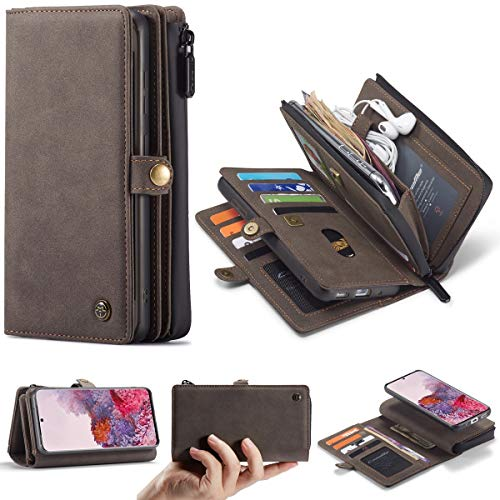 liyuzhu For el Caso de Samsung S20 Plus de teléfono móvil El Mate Imán Retro de Cuero Caja de Las Ranuras for Tarjeta for Samsung S20Plus (Color : Marrón)