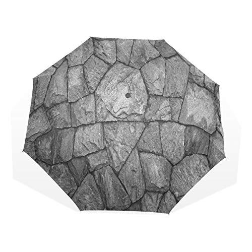 LASINSU Regenschirm,Steinmauer Textur Bild raue rostige Blöcke veraltete Struktur antike Grunge verwittert,Faltbar Kompakt Sonnenschirm UV Schutz Winddicht Regenschirm