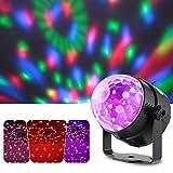 Discothèque Lampe de Scène, Lixada 3W RGB LED Mini Cristal boule facette Projecteur Spot, Vocale Commande/automatique mode pour Bar DJ Disco Fête Club (1pcs) Dimension: 8 * 9.7 cm (D * H)