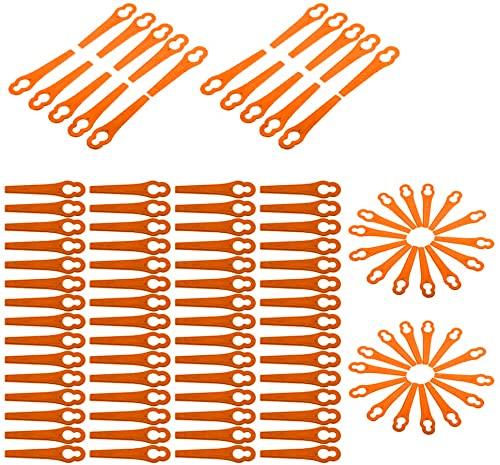 Grevosea Juego de 100 cuchillas de repuesto para desbrozadora de césped, cuchillas de plástico, accesorios para desbrozadora, cortabordes de césped con batería