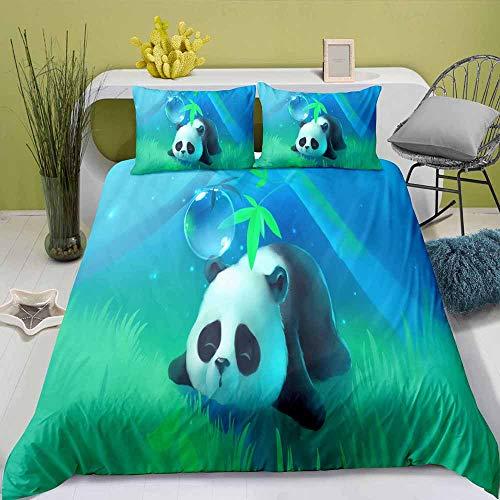 BEDLININGS 3Pcs Funda Nórdica para Niños con Estampado De Panda Animal 3D Juego De Cama Suave De Microfibra Funda De Edredón Y Funda De Almohada para Niños Adolescentes,E,240×220cm