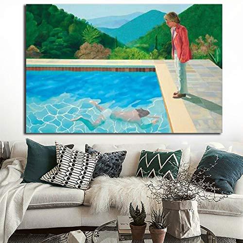 Geiqianjiumai Natuurlijke landschap zwembad muurschilderingen op doek en poster decoratieve schilderijen voor woonkamer decoratie zonder lijst gedrukt
