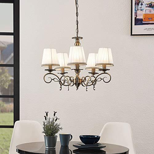 Lindby Kronleuchter 'Finnick' dimmbar (Landhaus, Vintage, Rustikal) in Bronze aus Textil u.a. für Wohnzimmer & Esszimmer (5 flammig, E14, A++) - Pendelleuchte, Hängelampe, Lüster, Lampe