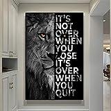 PYROJEWEL Wild Lion Letter Motivational Quote Art Posters e Impresiones en Lienzo Pintura Arte Decorativo de la Pared para la Oficina Decoración del hogar 70x100cm Sin Marco