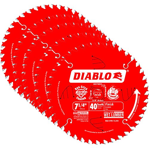 Best Prices! Freud D0740X Diablo 7-1/4-inch 40T ATB Finish/Plywood Thin Kerf Saw Blades, 5-PK