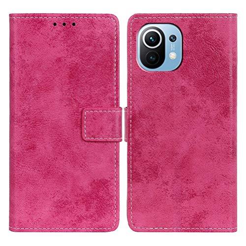 SULIAN Funda para Xiaomi Mi 11, Premium Cuero Billetera Ranura Tarjeta Antichoque Funda para Xiaomi Mi 11 6.81' - Rosa roja
