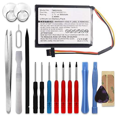 subtel® Batería de Repuesto 6027A0090721 Compatible con Tomtom Start 55 52 45 1EF0.017.03 1ET0.052.09 4EF0.017.00, 800mAh + Juego de Destornilladores Accu GPS Pila sustitución Battery