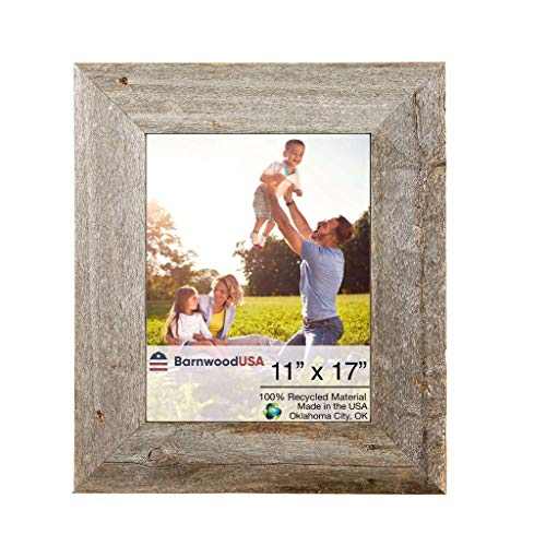 BarnwoodUSA Rustic 11 by 17 Inch Picture Frames 3 Inch Wide - 100% Reclaimed Wood, Weathered Gray