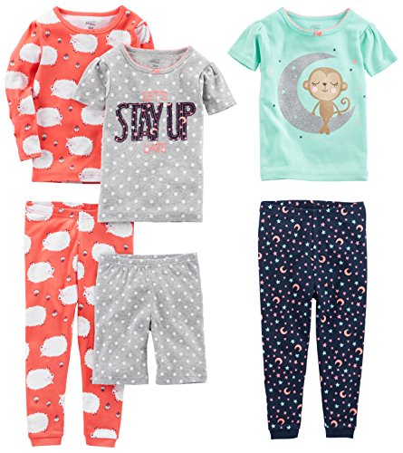 Simple Joys by Carter's Baby Girls 6-Piece Snug Fit Cotton Pajama Set, Sheep/Dot/Monkey, 18 Months