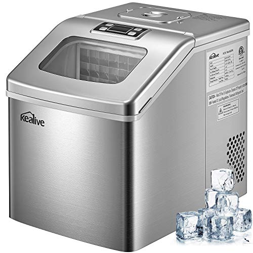 Ice Maker Machine 48 lbs Ice in 24 Hours Portable Ice Maker for Countertop Clear Square Ice Cubes Ready in 15 Minutes with 3 lbs Storage and Scoop, Stainless Steel by Kealive