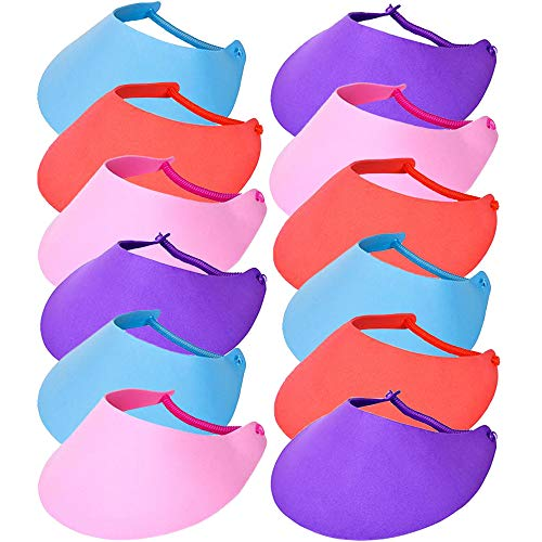 ArtCreativity Assorted Color Foam Visor Set of 12 for Kids Age 3+, 3 Pc of Each Color – Blue, Red, Purple & Pink, Great for Kids' Fun Arts & Crafts Project, Class Field & Camping Trips, Carnival Prize