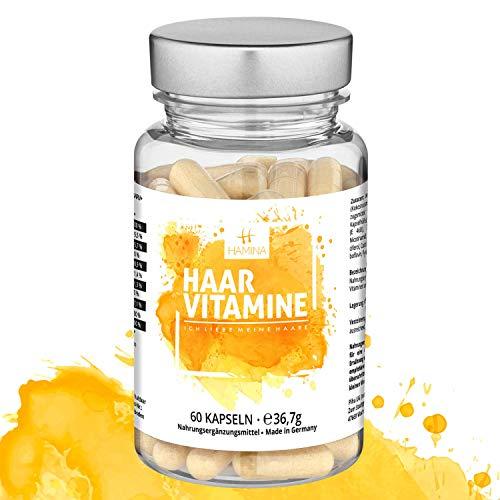 HAMINA Vitamine gegen Haarausfall (60 Kapseln) Haarwachstum beschleunigen bei Frauen und Männern (Hochdosiert Biotin + Vitamin B1 B2 komplex B3 + Vitamin D + Eisen + Zink + Selen + MSM)
