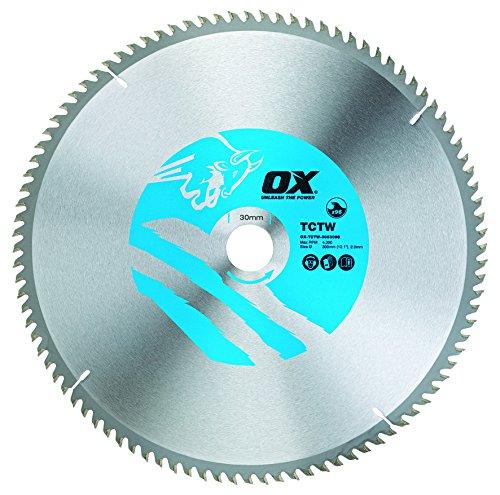 OX Tools OX-TCTW-3053096 OX Hoja de Sierra Circular para Cortar Madera 305/30mm, Dientes, 0 V, Silver/Blue, 96 Teeth ATB
