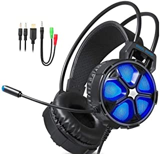 Gaming Headset-Marvel X for Xbox One S/X, Nintendo Switch, PS4/Pro/Slim, PC, MAC- Noise Cancelling, Soft Breathing Earmuffs, Adjustable Mic & Volume, Lighweight Comfort, Led Lights, Stereo