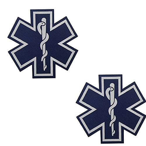 2PCS Reflective Medic Patches, EMT EMS Paramedic Medical Star of Life Embroidered Fabric Patches with Hook Loop Backing for Clothes 2.76 Inch