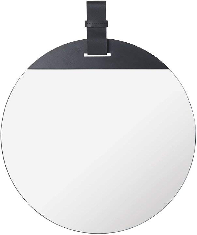 Ferm Living - Enter Spiegel,  45 x H 52 cm, Leder schwarz