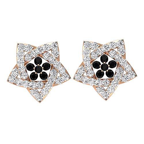 0.15 ct Negro Espinela Estrella Pendiente, 0.6 quilates HI-SI Diamante Stud Pendiente, Clásico Partywear Pendiente, Pendiente Vintage, Pendiente Art Deco Boda, tornillo hacia atrás