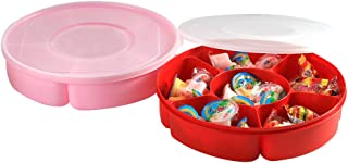 2 Pack - Candy and Nut Serving Tray with Lid, 6 Compartment Organizer, Round Sectional Plastic Food Storage Container, Divided Snack Holder Dish