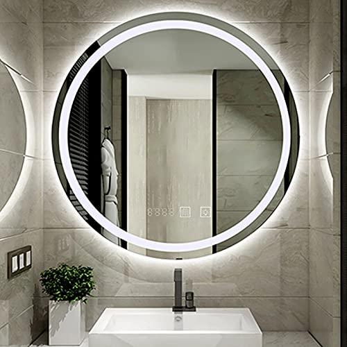 Espejo de Pared LED, Espejo de Baño LED Redondo, Espejo de Baño con Iluminación, Espejo de Maquillaje con Interruptor Táctil y Antivaho + Clocke