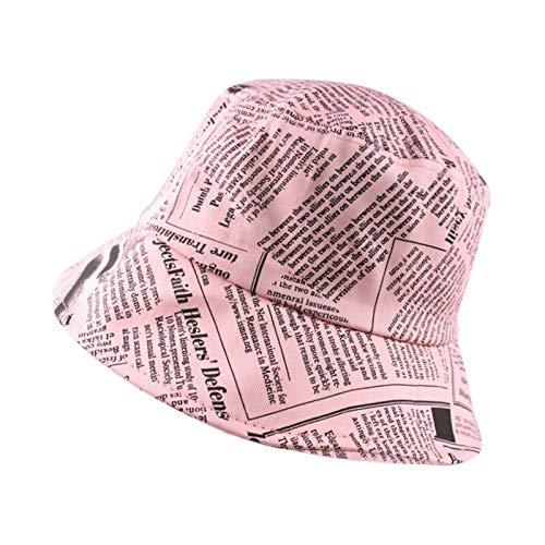 WAZHX Sombrero De Sol con Estampado De Periódico con Letras En Blanco Y Negro, Sombreros De Pescador De Moda para Hombres Y Mujeres, Sombrero De Cubo De Hip Hop para La Calle, Gorra De Pesca Rosa
